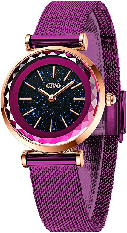 CIVO Relojes Mujer Ultra Delgado Púrpura Reloj de Pulsera para ...