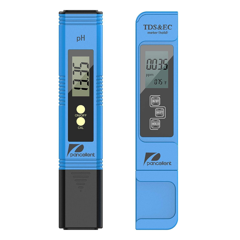 Medidor de prueba de calidad del agua Pancellent TDS PH EC Temperatura 4 en 1 Juego para hidroponía, acuarios, agua potable, sistema de RO, estanque ...