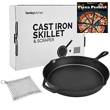 Henley Kitchen - Pre-Seasoned Cast Iron Skillet - 12 Inch - Classic Cast Iron Frying Pan with Stainless Steel Cast Iron Cleaner and Cast Iron Pizza eCookBook