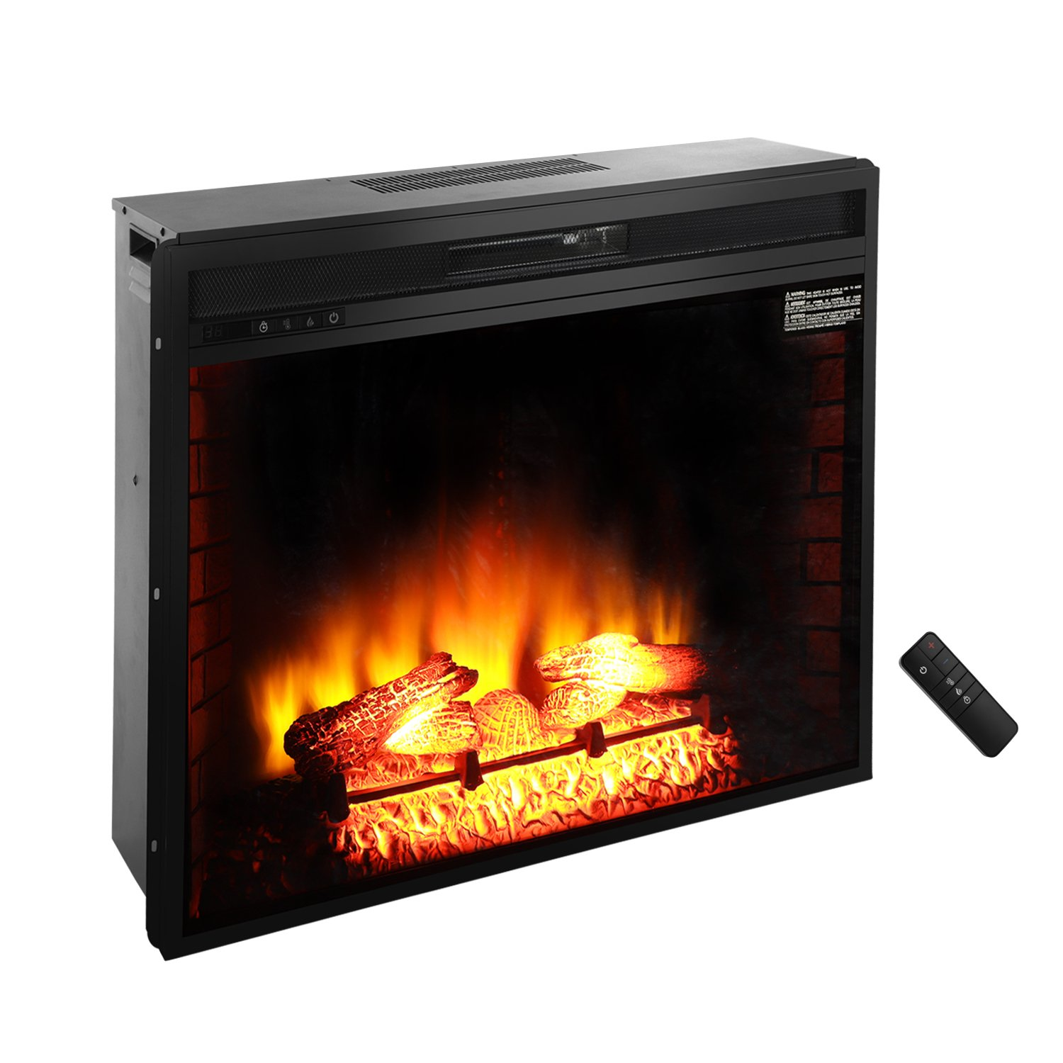 ROVSUN 33'' Recessed Electric Fireplace Insert W/Remote Control Timer Adjustable 5200BTU Quartz Space Heater FireBox,3 Realistic Flame Effect,Two Side Built-In Wall Tiles Logs,CSA Listed(Black)