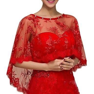Sonnenschein Braut Brautkleid Schal Rote Spitze Hedging Capes Sommer