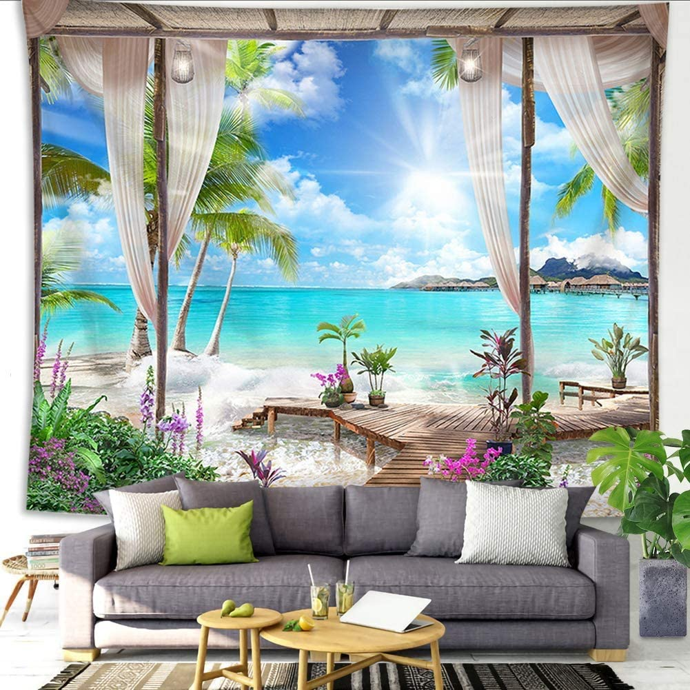 QCWN Beach Decor Tapestry, Ocean Sea Tropical Island Palm Tree Scenic View from Balcony Summer Tropical Scenery Wall Hanging Nature Tapestry for Bedroom Living Room Dorm.70x92Inch