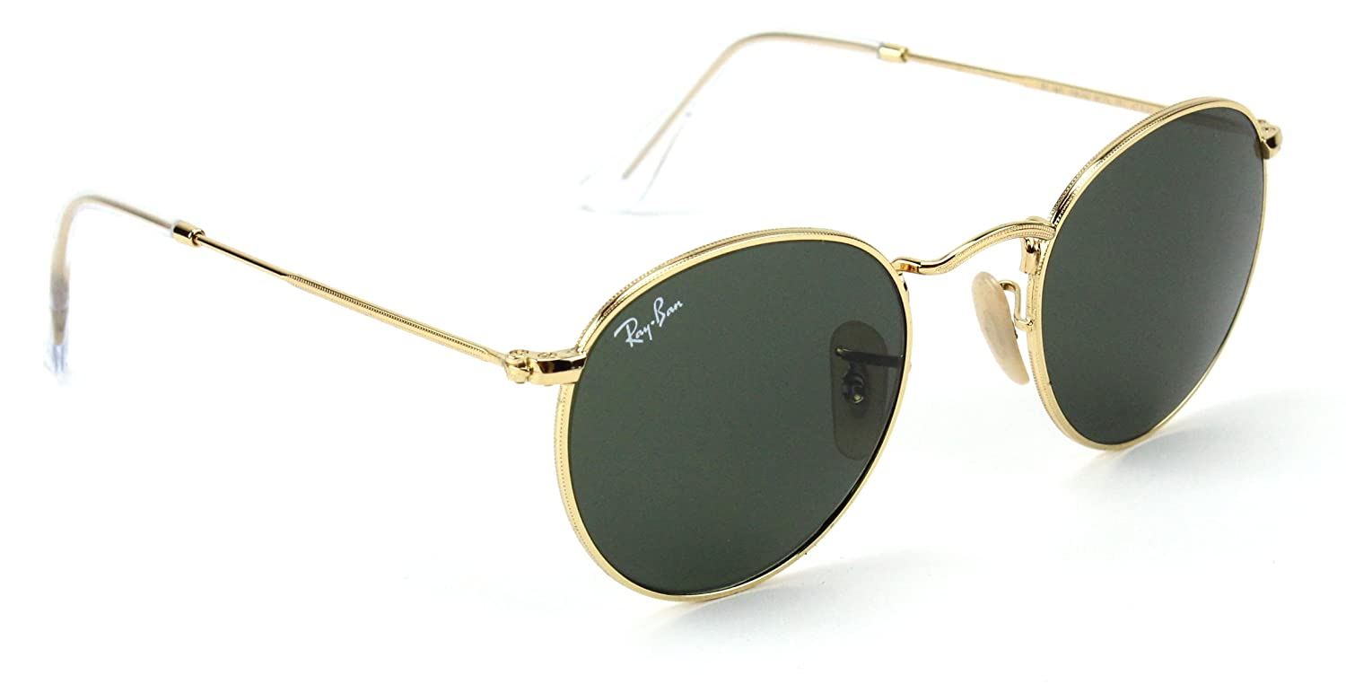 d76c0c939a8 Amazon.com  Ray-Ban RB3447 001 Round Sunglasses Arista Gold   Crystal Green  Lens 50mm  Clothing