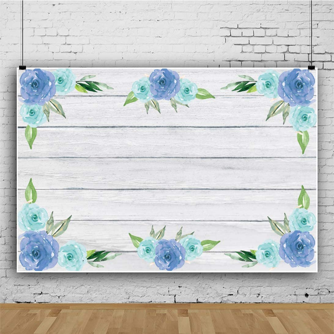 Yeele 6x4ft Floral Wood Backdrop Baby Shower Wooden Board Photography Background Newborn Infant Baby Portrait Photo Booth Banner Dessert Table Decoration Cake Smash Photoshoot Banner