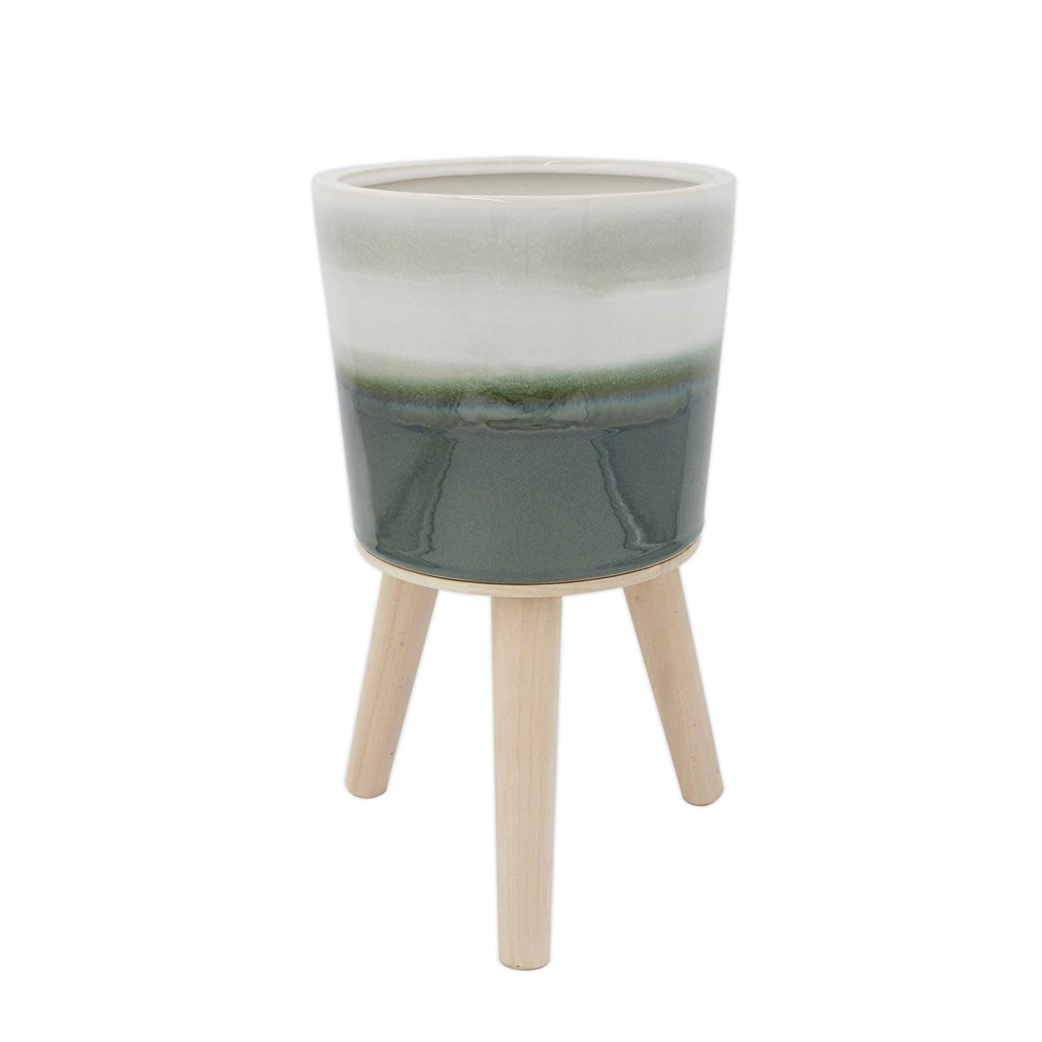 Rivet Mid-Century Stoneware Planter with Wood Stand, 12.99 H, Green Ombre