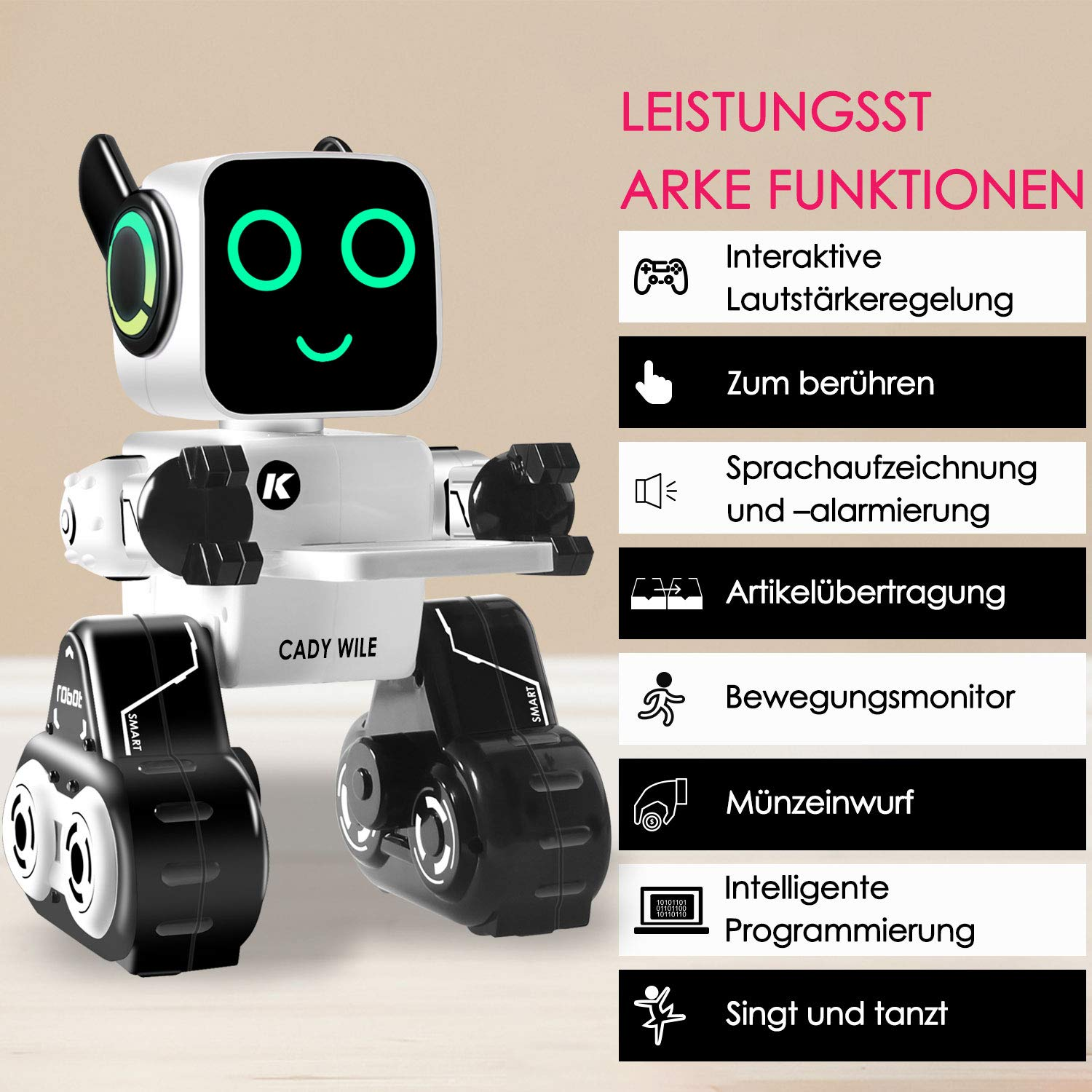 Remote Control Toy Robot for kids,Touch & Sound Control, Speaks, Dance Moves, Plays Music, Light-up Eyes & Mouth. Built-in Coin Bank. Programmable, Rechargeable RC Robot Kit for Boys, Girls All Ages. by IHBUDS (Image #3)