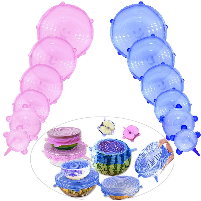 Comius Tapas para Botes de Cocina, 12 Pcs Sin BPA Tapas de Silicona EláSticas, Fundas para tazones de Silicona Fundas, Lavavajillas, Microondas (Azul + Amarillo)