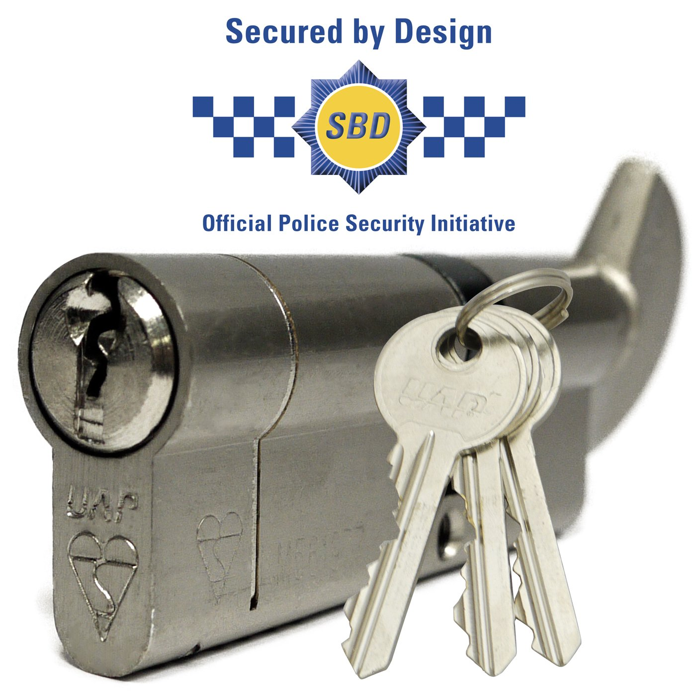 Secured by Design UAP 50T/50 (45T-10-45) 100mm Nickel High Security 1* Kitemarked Euro Thumb Turn Cylinder Door Lock