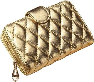 Wallet Slim Pour Wallet Femmes court Sheepskin Mesdames Zipper, d'or d'or Blancho Bedding
