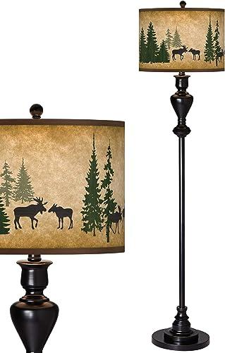 Moose Lodge Giclee Glow Black Bronze Floor Lamp