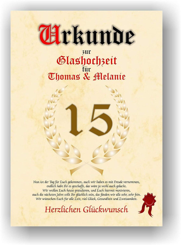 Urkunde zum 10. Hochzeitstag - Glashochzeit - Geschenkurkunde Glas ...