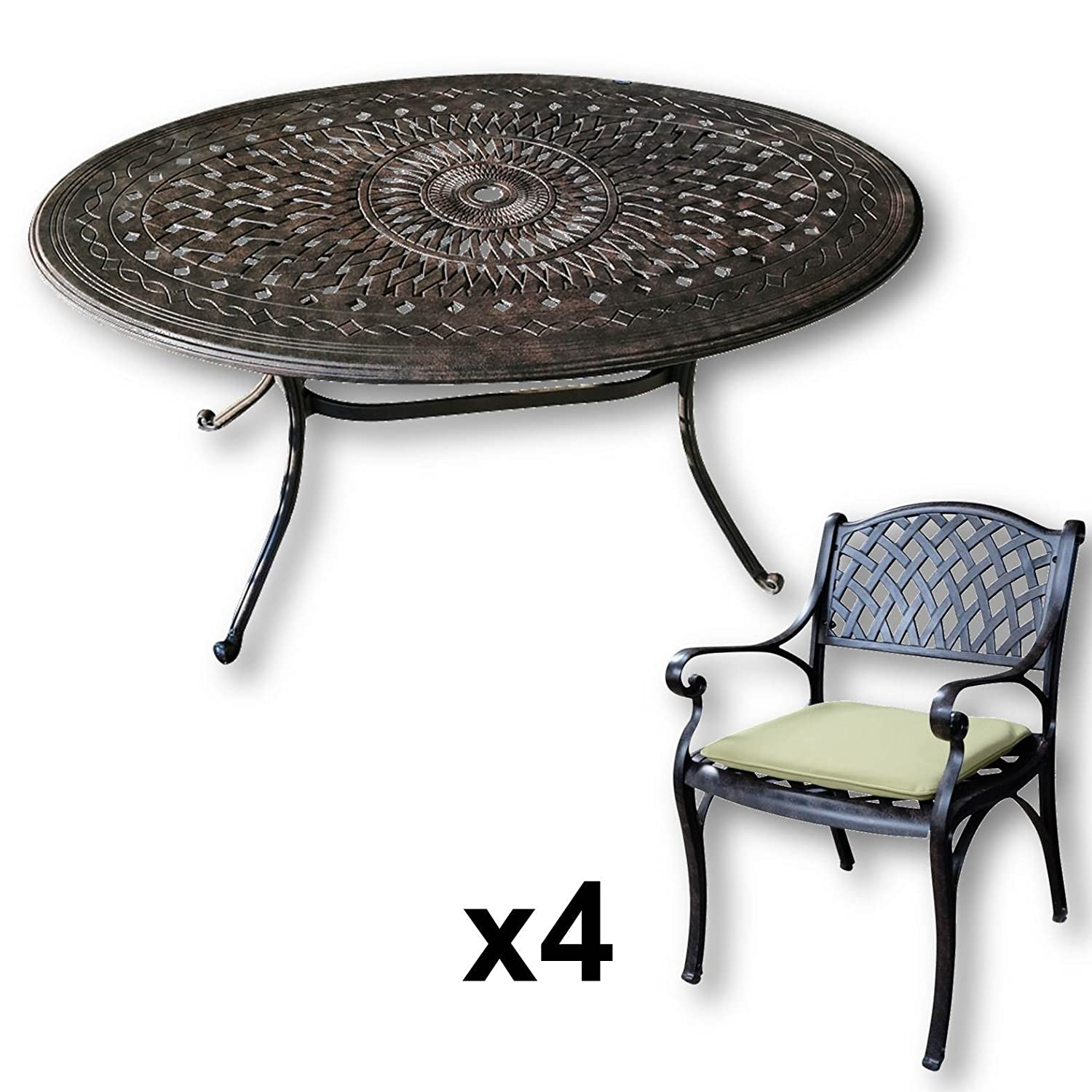 lazy susan emily 150 x 95 cm ovaler gartentisch mit 4 st hlen gartenm bel set aus metall. Black Bedroom Furniture Sets. Home Design Ideas