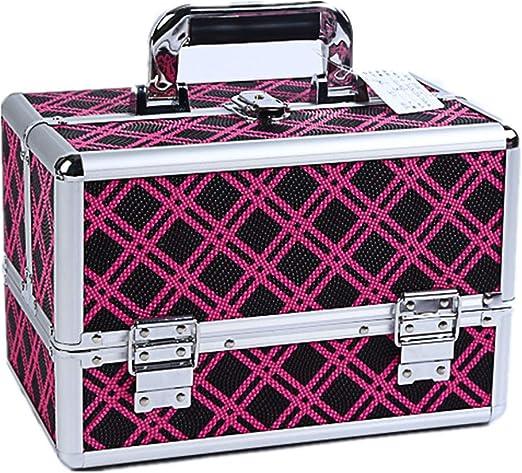 Neceser/Organizador de maquillaje Estuche cosmético portátil de alta capacidad para maquillaje de belleza y para mujeres Viaje y almacenamiento diario de mujeres con cerradura con bandejas extensibles: Amazon.es: Hogar