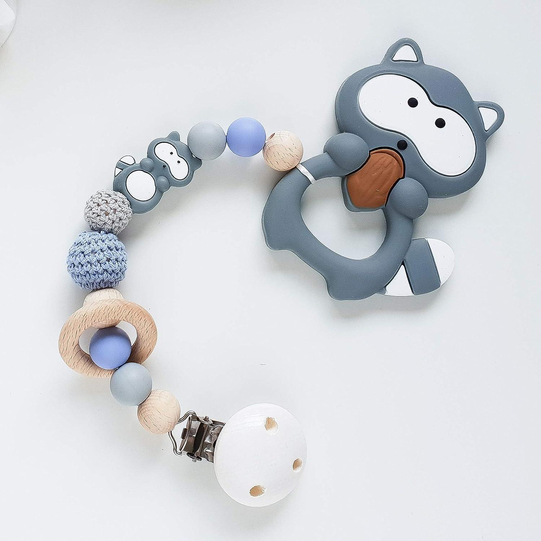 Beißkette 'Waschbär in Jeansblau und Grau' Zahnungshilfe für Babys