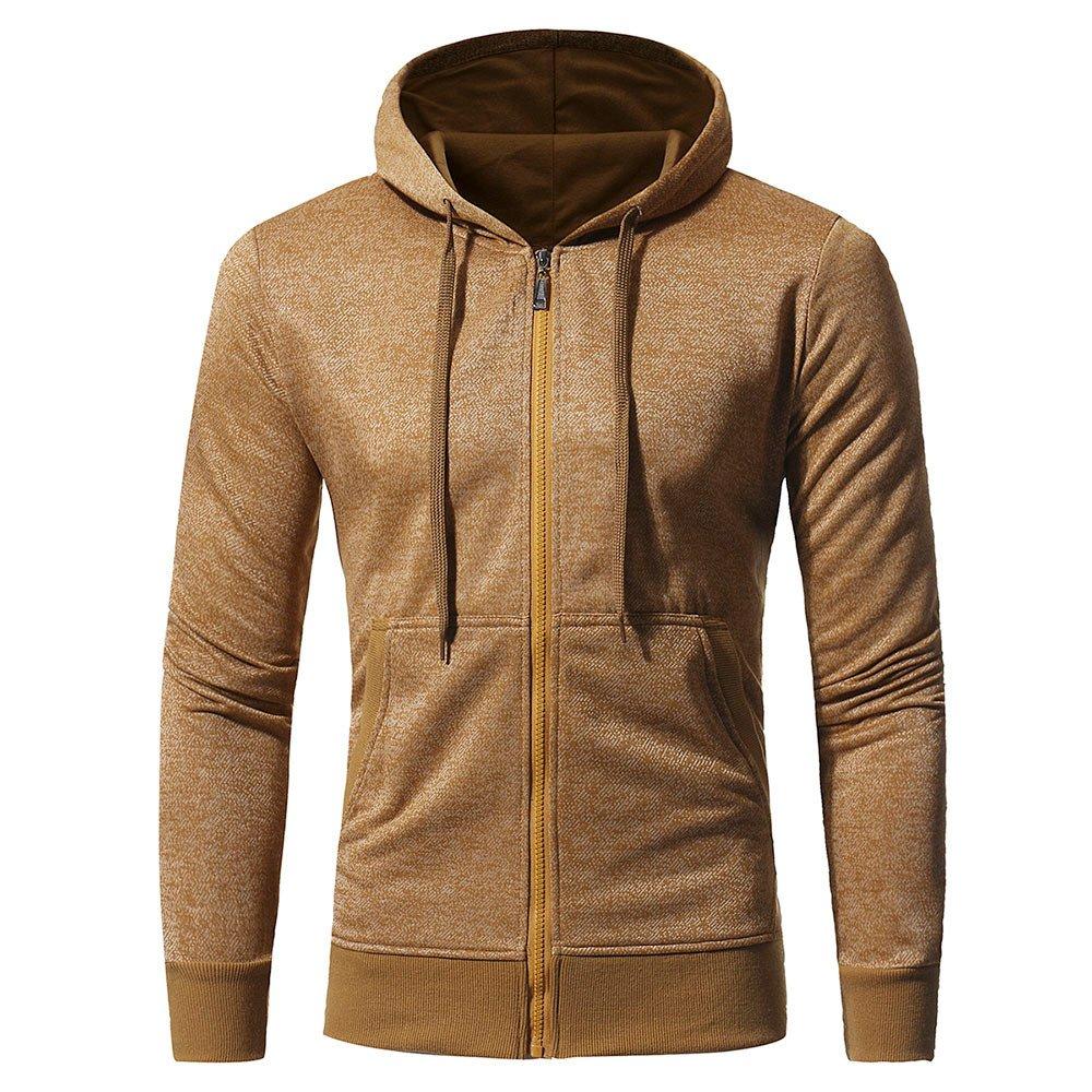 PASATO ClassicMen Retro Long Sleeve Zipper Hooded Sweatshirt Tops Jacket Coat Outwear Clearance Sale(Yellow, L=US:M)