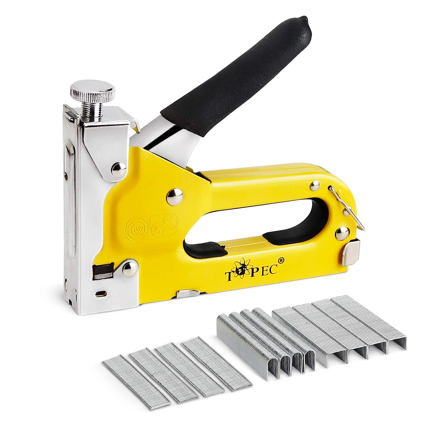 Staple Gun, 3 in 1 Manual Nail Gun with 1800 Staples - Heavy Duty Gun for Upholstery, Fixing Material, Decoration, Carpentry, Furniture by Topec (Image #1)