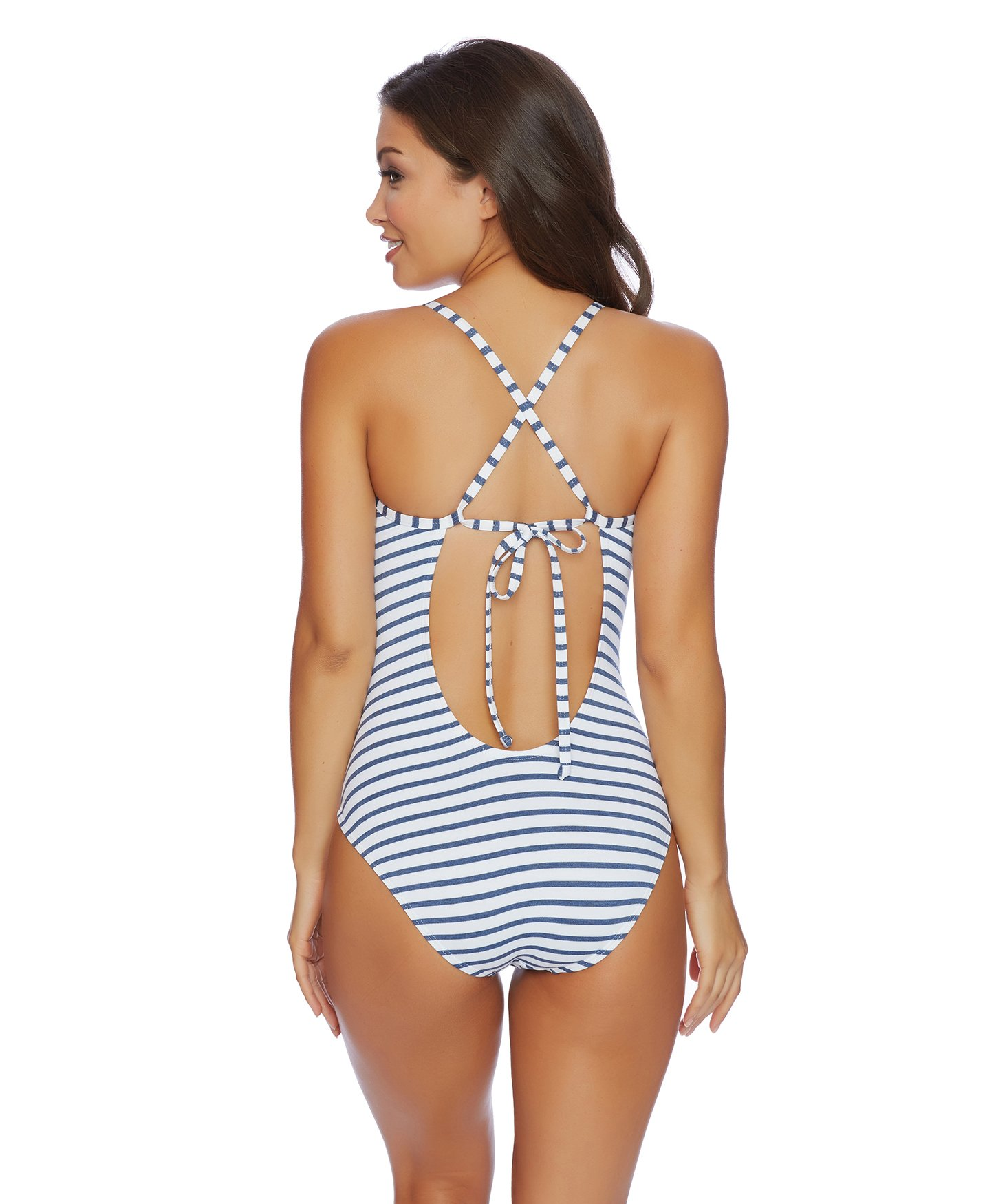 Splendid Women's Crisscross One Piece Swimsuit, Chambray All Day Blue, Medium by Splendid (Image #3)