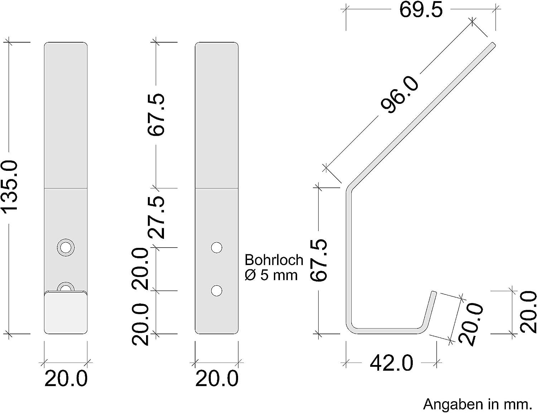 GR10076 Wandhaken zum Schrauben 5 St/ück Gedotec Wandmontage universal Garderobenhaken Edelstahl Kleiderhaken gebogen Wandgarderobe mit Befestigungsmaterial 140 x 19 mm