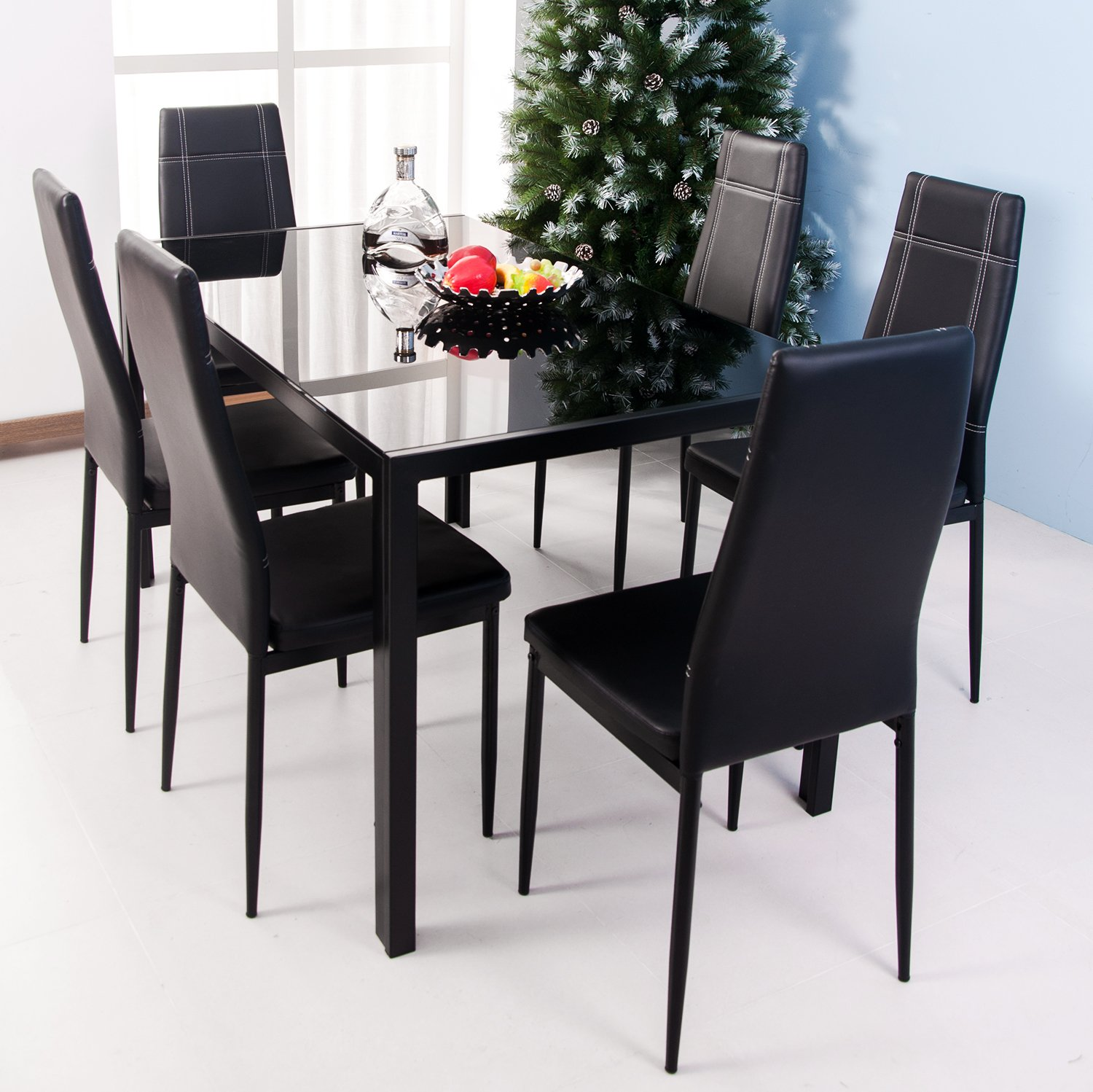 Amazon com  Merax 7 piece Dining Set Glass Top Metal Table 6 Person Table  and Chairs  55 Inch  Black   Kitchen   Dining. Amazon com  Merax 7 piece Dining Set Glass Top Metal Table 6