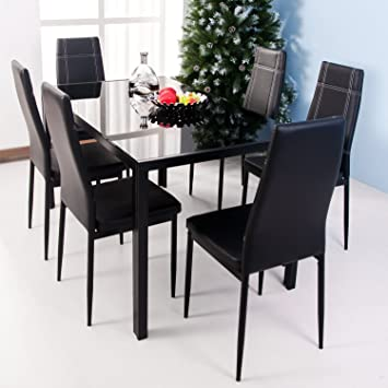 Merax 7 Piece Dining Set Glass Top Metal Table 6 Person And Chairs