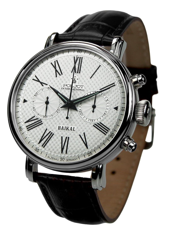 Poljot Int. Chronograph Baikal Mechanische Russische Uhr Herren Lederband Schwarz