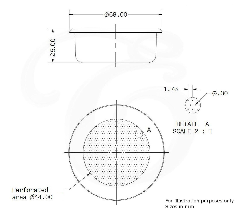 LA CIMBALI Canasta de repuesto para portafiltros 14 g Para expreso doble EDESIA ESPRESS