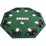 Tenive Deluxe 8-player Position Foldable Poker Tabletop Blackjack Card Game Table Top Bulid-in Cup Holders w/Carrying Bag