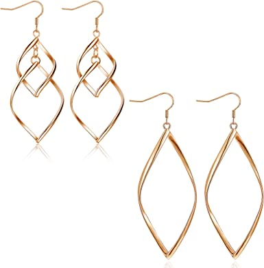 925 Solid Sterling Silver Hoop Dangling Earrings Dangle Double Circle Threader Jewelry Drop Loops