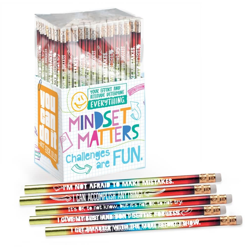 Mindset Matters 150 Sparkle Foil Award Pencil Collection- Includes Pencil Themes That Reinforce Effort, Determination and Student Achievement
