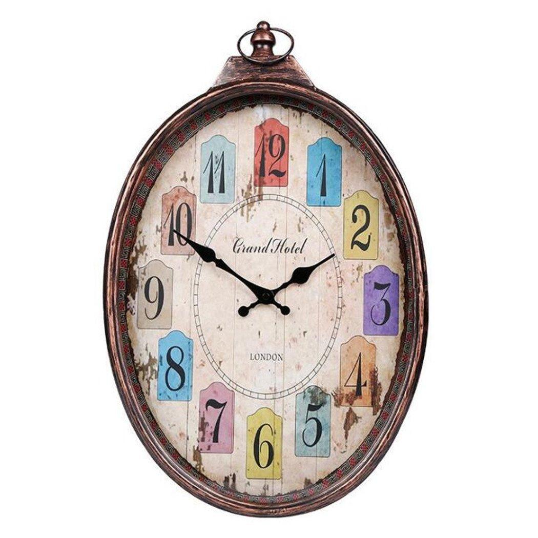アメリカのレトロ壁時計ミュートオーバルリビングルームカラーデコレーションテーブルクリエイティブファッションクォーツ時計ベッドルームレストランの壁時計 B07DJB4LD8
