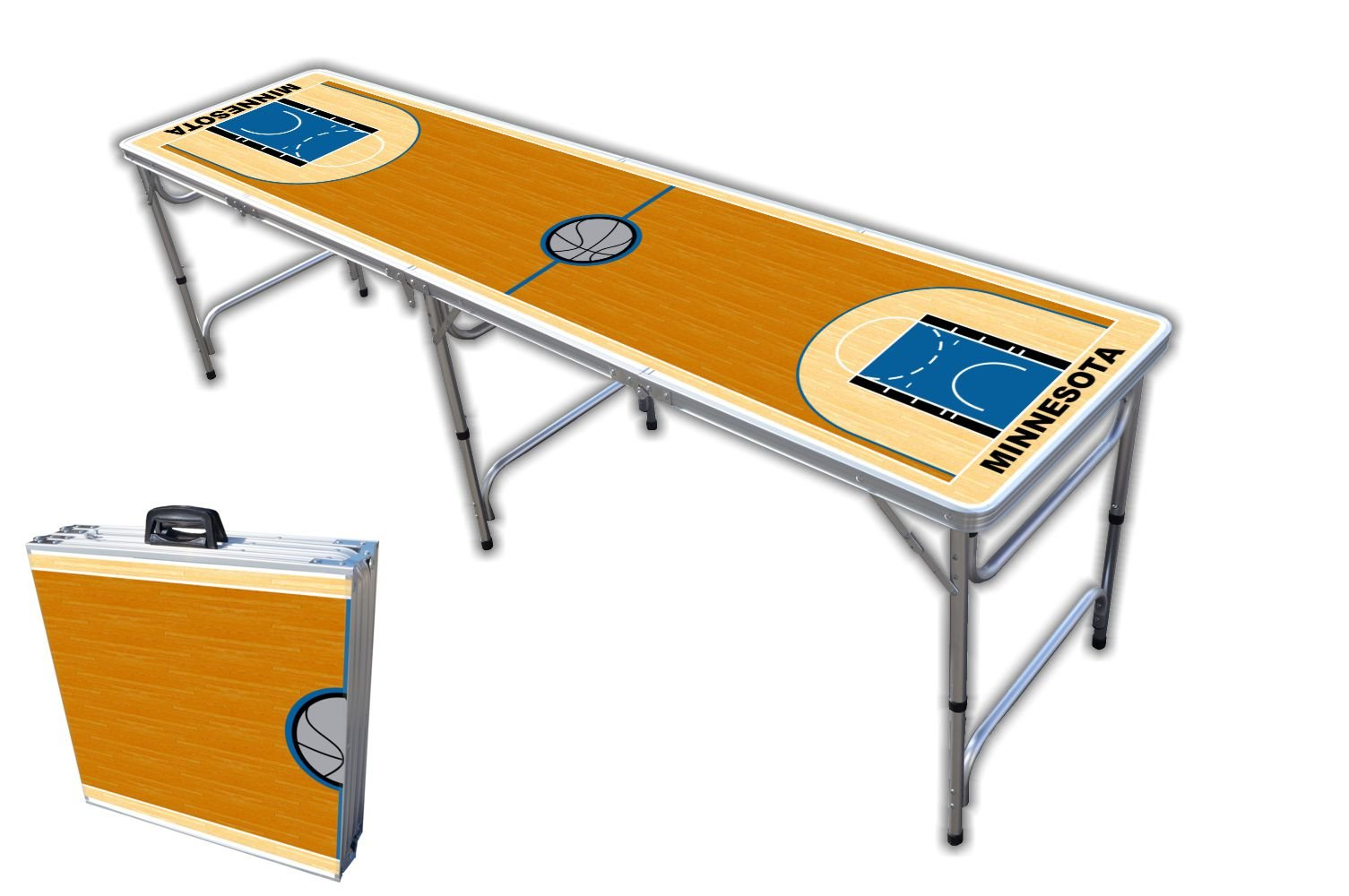 8-Foot Professional Beer Pong Table - Minnesota Basketball Court Graphic by PartyPongTables.com