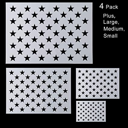 Star Stencil 50 Stars American Flag Stencils for Painting on Wood Airbrush,Reusable Starfield Stencil, 1 Large, 3 Small Fabric