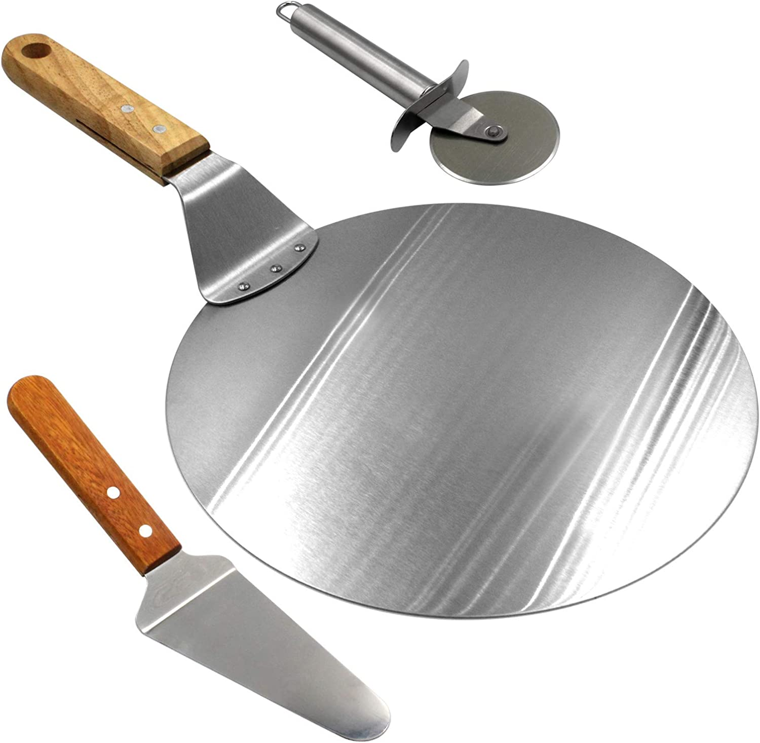 Stainless Steel Pizza Peel Bakers Round Paddle Wooden Baking Tray Handle new