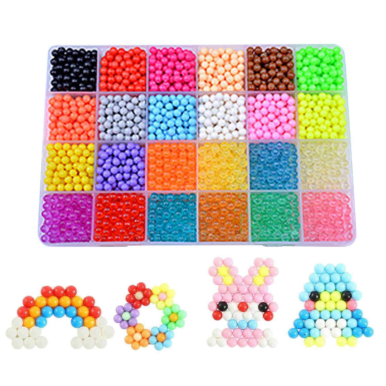 Beetest 24 Colori Aquabeads DIY Water Craft Sticky Playset per l'educazione dei Bambini (3600 Grani)