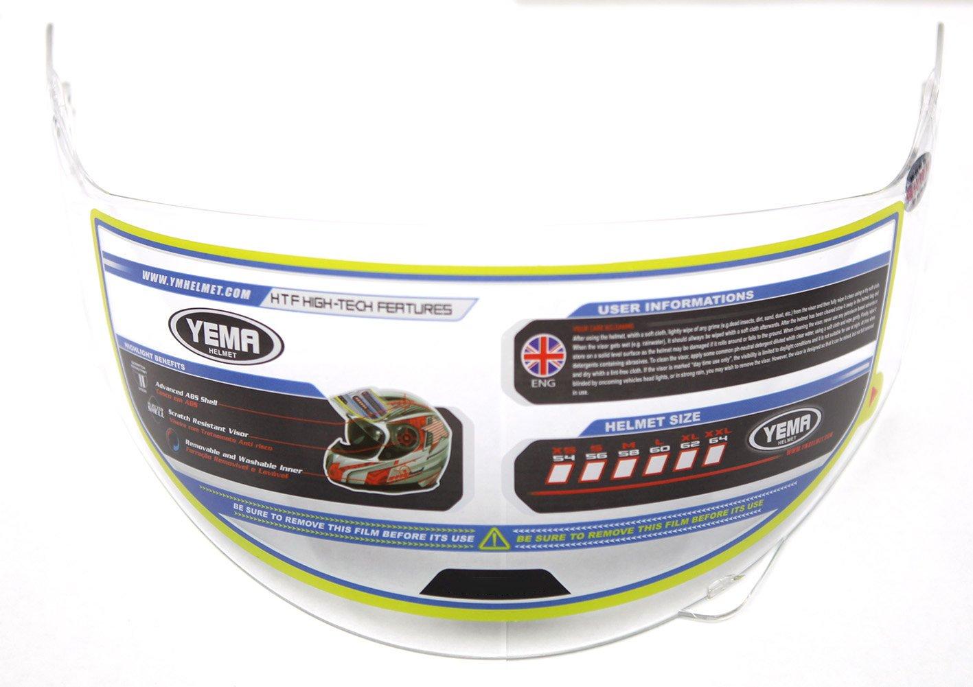 Motorcycle Open Face Helmet DOT Approved YEMA YM-629 Motorbike Moped Jet Vespa Bobber Chopper Pilot Crash 3//4 Helmet with Sun Visor for Men Women Adult Street Bike Scooter Cruiser XL