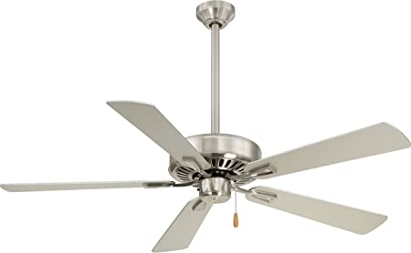 Minka-Aire F556-BN, Contractor Plus 52 Ceiling Fan, Brushed Nickel Finish with Silver Blades