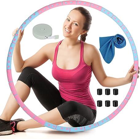 Edelstahl Hula-Hoop Reifen 1,2-1,5kg mit Mini Spannungsband 8 Segmente Hula Hoop Reifen Erwachsene Abnehmen Hula Hoop Reifen Erwachsene