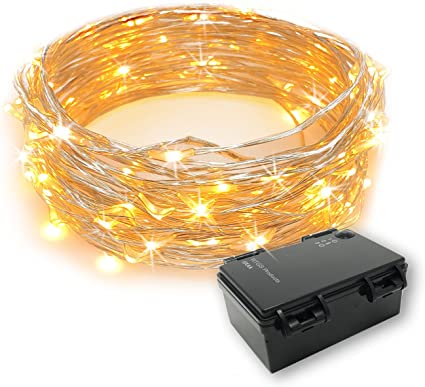 Micro LED Copper Wire Battery Fairy Rice Lights Waterproof Timer Indoor Outdoor
