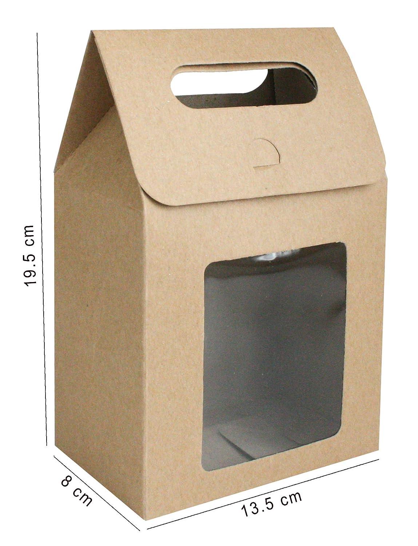 Confezione da 12 Emartbuy Carta Forte Borsa Regalo In Piedi 15 cm x 10 cm x 6 cm Borsa Kraft Marrone Scatola di Biscotti Caramelle Con Finestra Trasparente