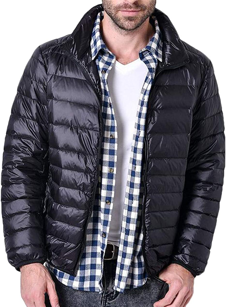 Twcx Mens Plain Stand Collar Packable Warm Lightweight Casual Down Jacket Coat Navy 2XL
