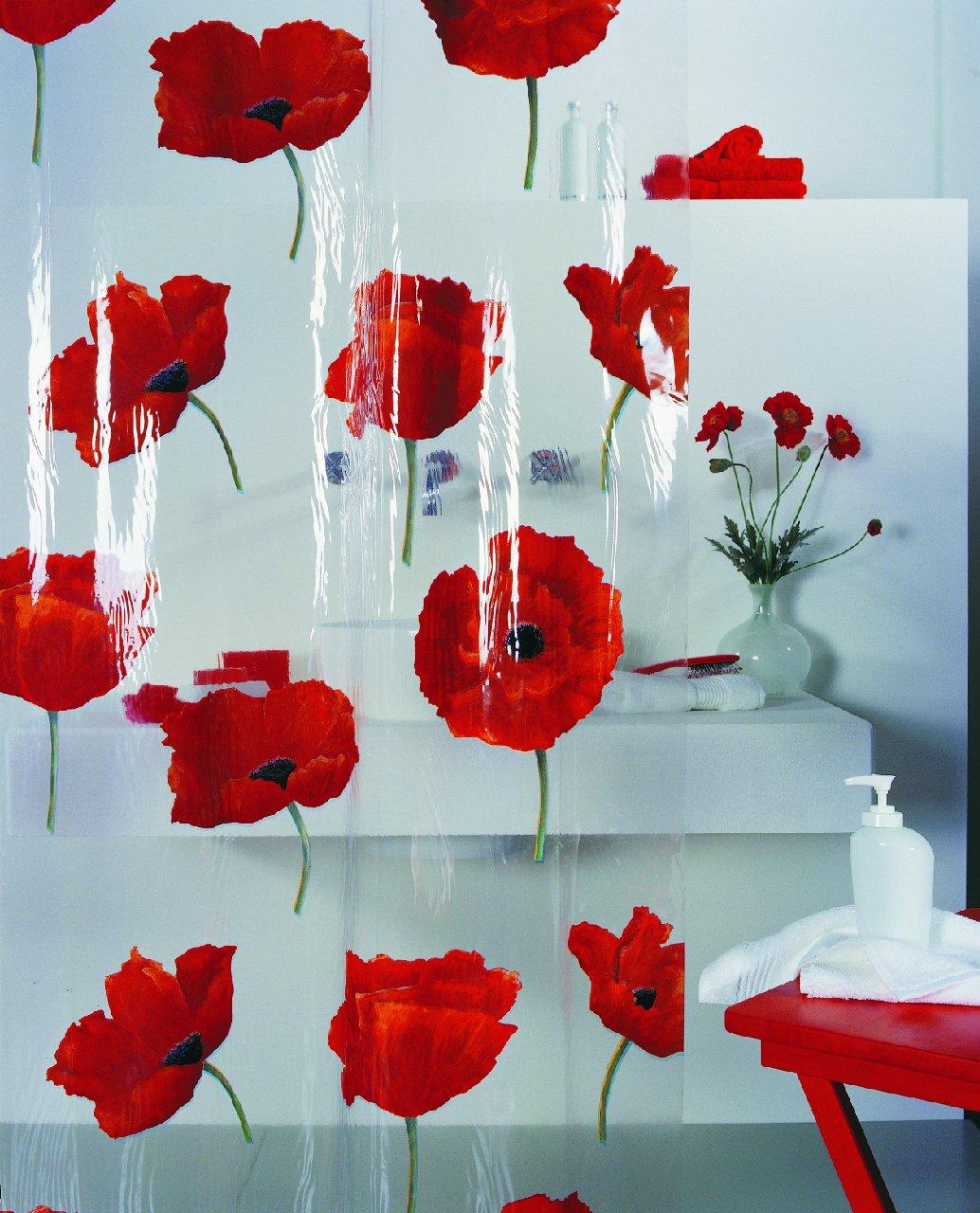 Clear fish shower curtain - Spirella Poppy Cinnibar Peva Plastic Transparent Shower Curtain With Poppy Flower Pattern 180 X 200