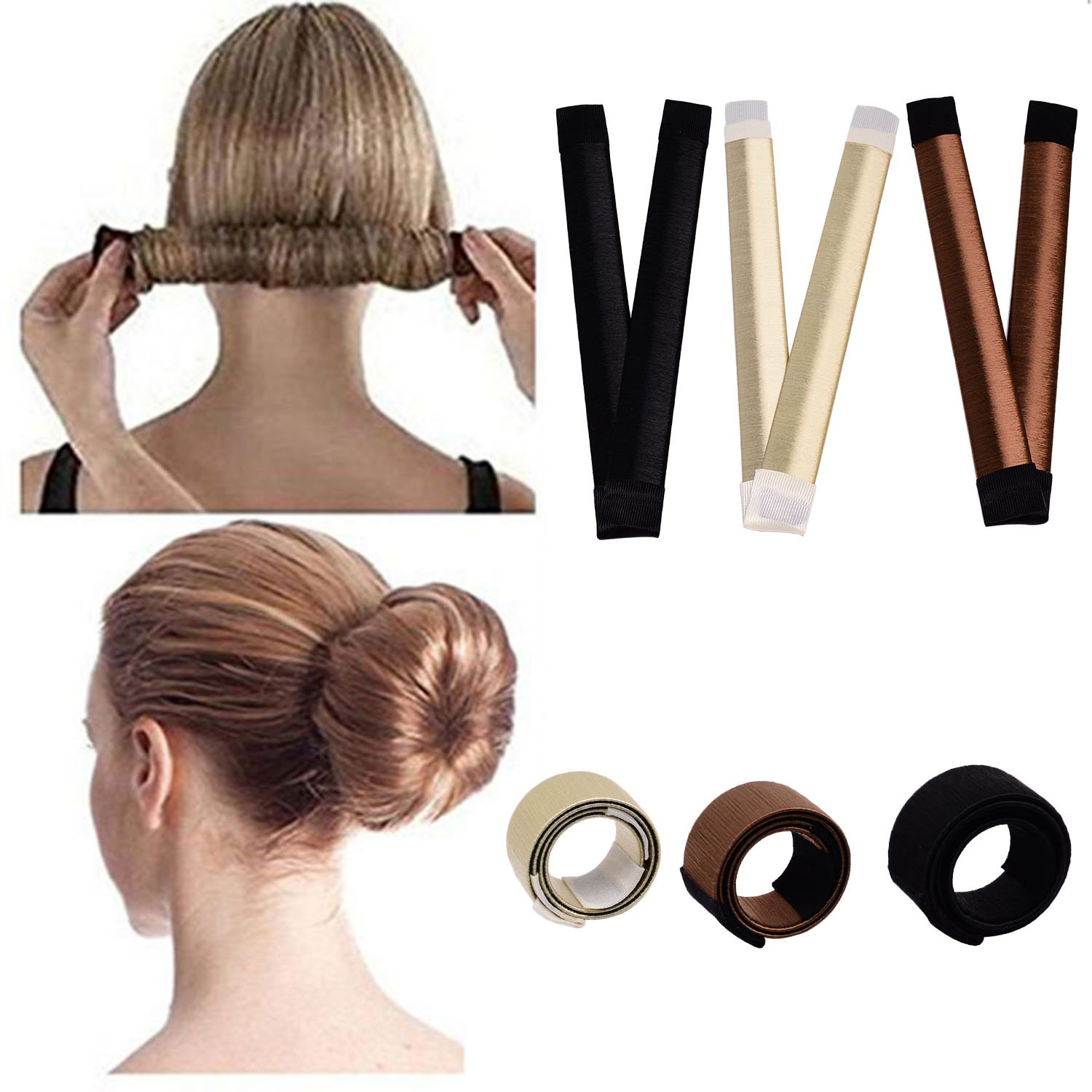 Hair bun maker-3 Pack Hair bun dount+10 Piece Professional Multicolor Plastic Hair Clips+Hair rope, Hair Styling Making DIY Curler Roller Hairstyle Tools by haomiao (Image #2)