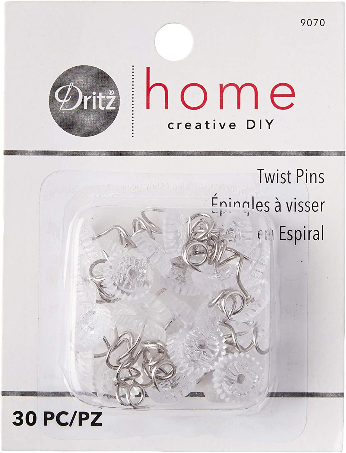 Dritz Home 9070 Twist Pins with Clear Heads (30-Piece)