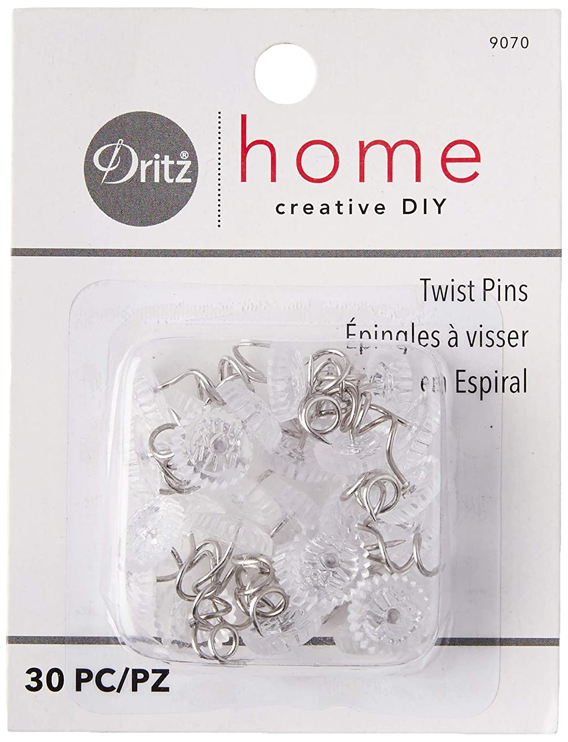 Dritz Home 9023 Twist Pins with Clear Heads 10-Piece