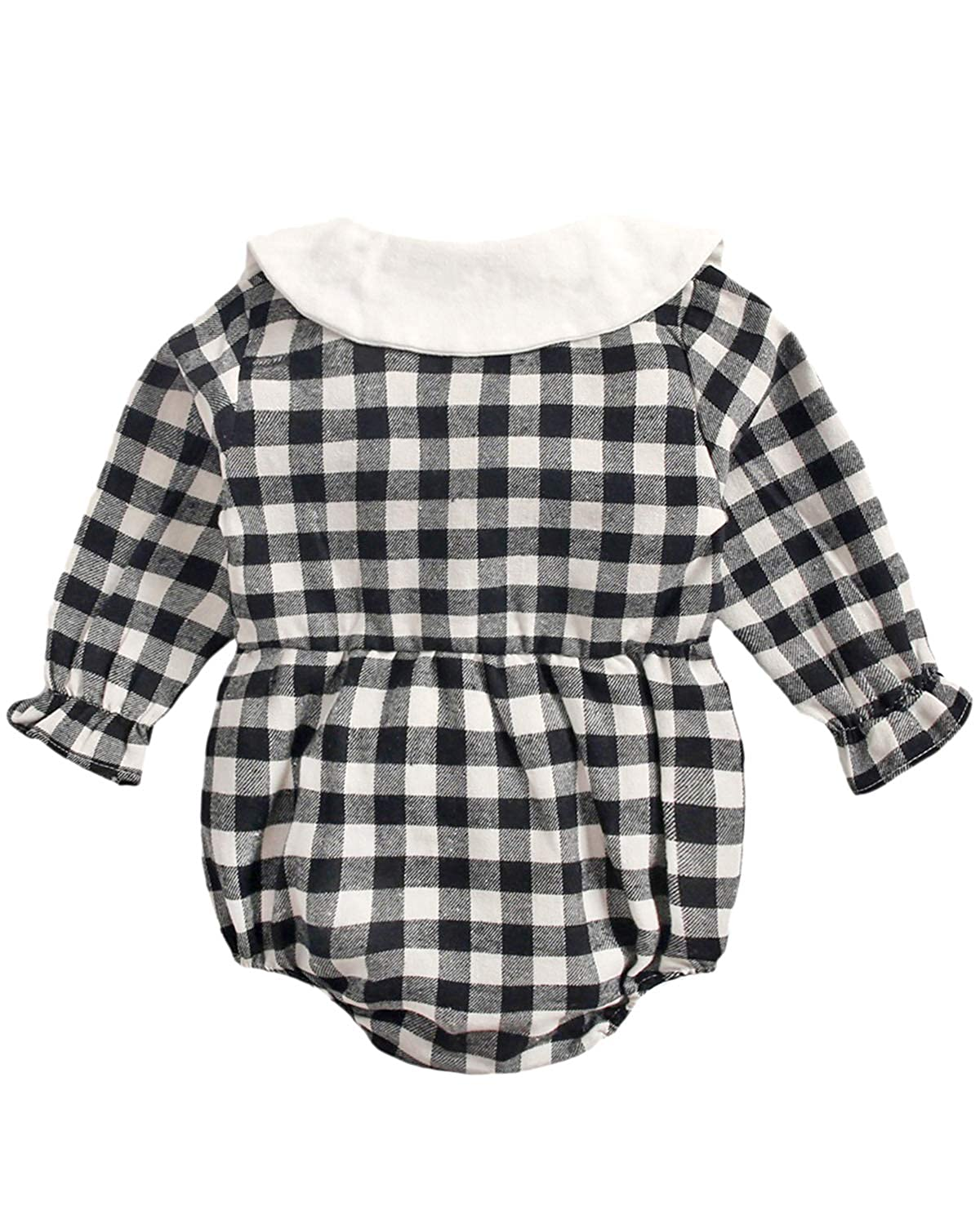 Baby Girls Long Sleeve Bodysuits Rompers Plaid Infant Toddler Cotton Jumpsuits