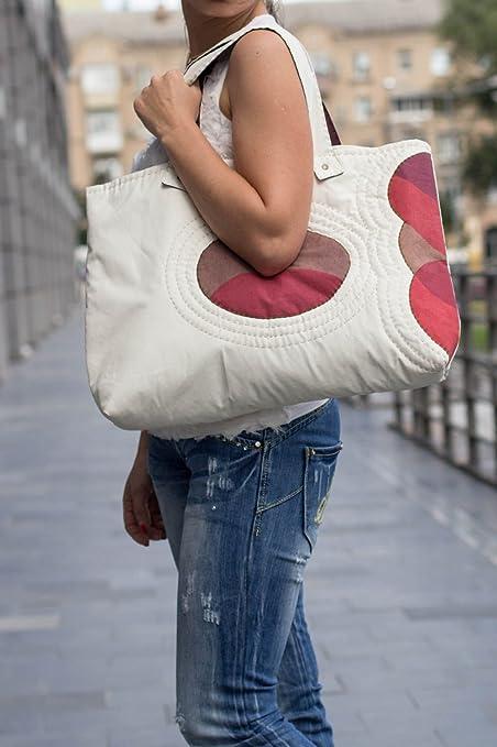 Bolso grande artesanal bolso de tela blanca de algodon regalo para mujer: Amazon.es: Hogar