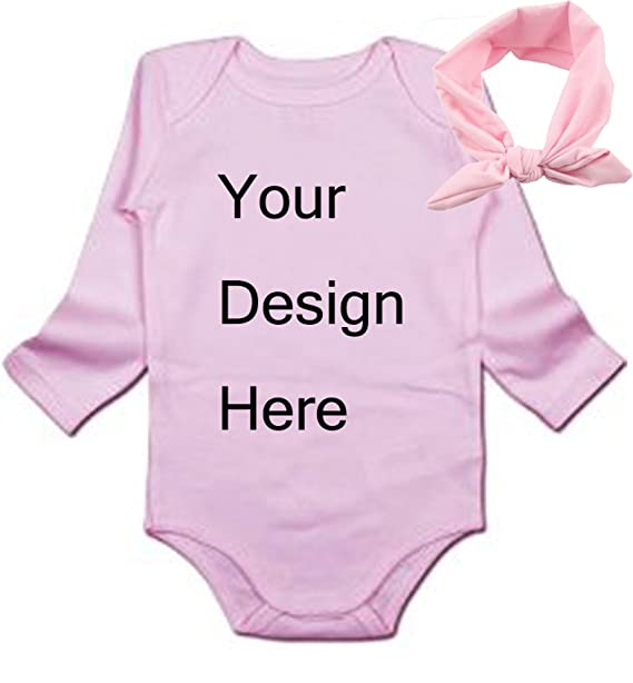 c7eb65615 Amazon.com: Custom Baby Long Sleeve Onesie Personalized Baby One-Piece Bodysuit  Create Your Own Text or Image- With Pink Headband: Clothing