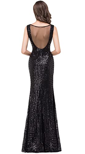 Babyonlinedress Sexy Sheer Back Sheath Sequined Little Black Dress