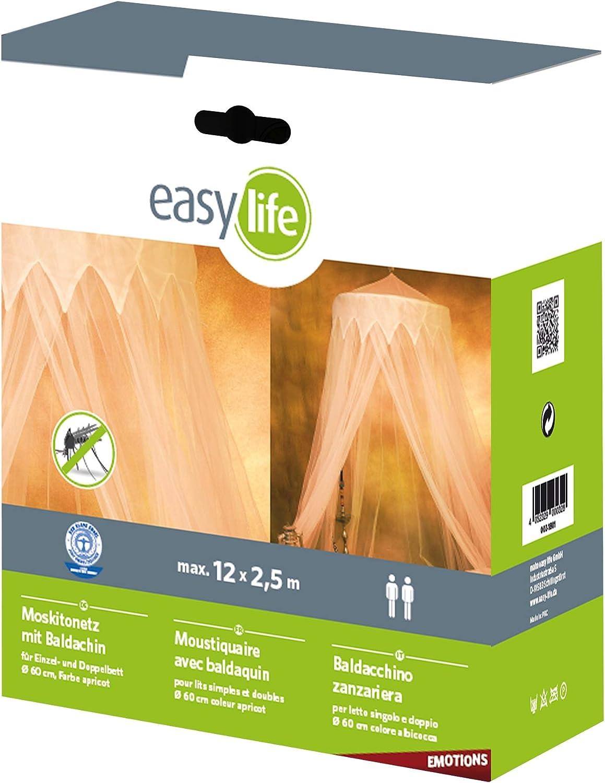 """Easy Life baldacchino max 2,5m x 12 m Zanzariera /""""Dreams/"""" con stelle luminose 12,5 x 2,5 m terracotta Fibra sintetica"""