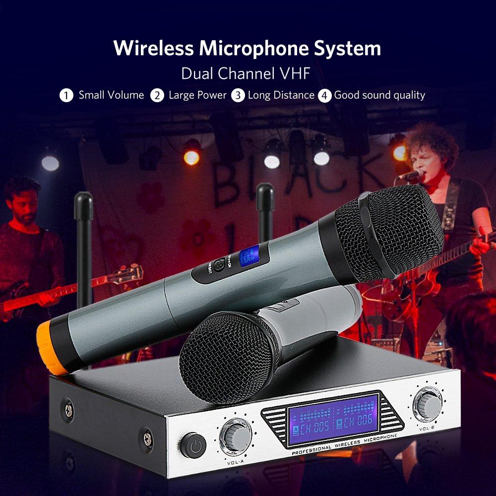 Moreslan VHF bluetooth Funk Mikrofon Karaoke Anlage Kabelloses Mikrofon Dual 2 Handmikrofon Tragbare Professionelle Home KTV Set f/ür Karaoke Ideal Geschenk Funkmikrofon Set Konferenz usw. Party